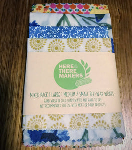 Beeswax Wraps - Mixed 4 Pack - Here and There Makers