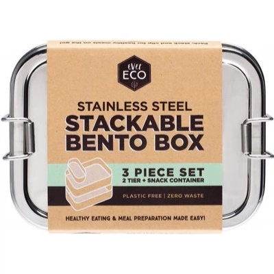 Stainless Steel Stackable Bento 2 Tier + Mini Snack Container 1200ml Ever Eco - Here and There Makers