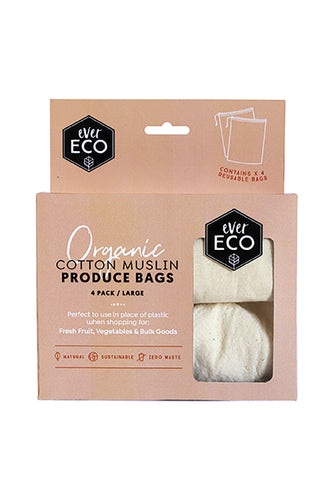 Organic Cotton Muslin Produce Bags 4 Pack - Here and There Makers