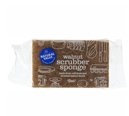 Walnut Scrubber Sponge - Natural Value - Here and There Makers