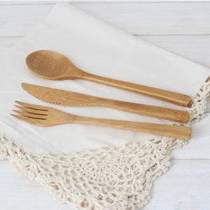 Bamboo Cutlery Set with Pouch - HTM - Here and There Makers