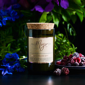 Violet & Frosted Berries - Reclaimed Wine Bottle Soy Wax Candle