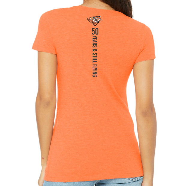 50th Anniversary of Ultimate: '7 on the Line' Women's SS Tri-Blend Tee - Orange - by Bella
