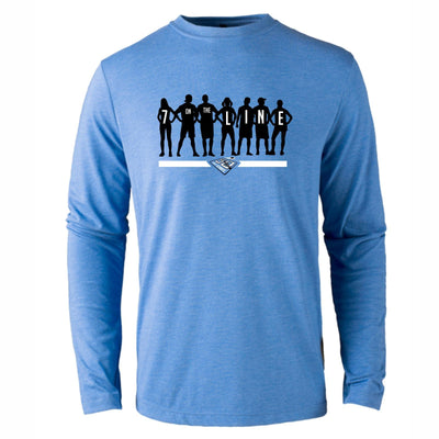 50th Anniversary of Ultimate: '7 on the Line' Unisex LS Tri-Blend Tee - Royal - by Primease