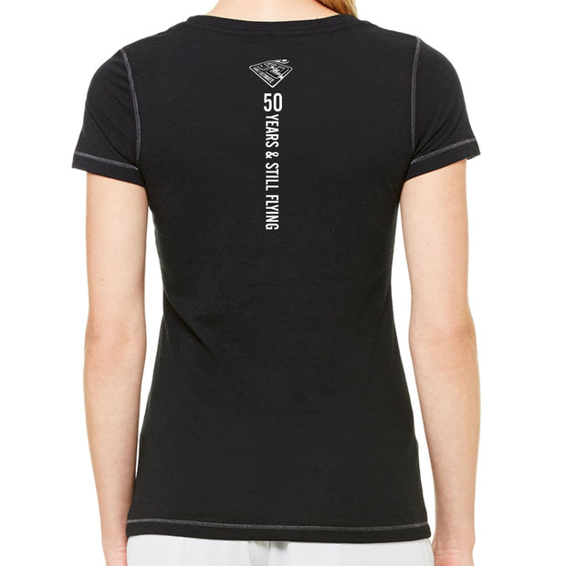 50th Anniversary of Ultimate: 'Layout' Women's SS Contrast Stitch Tri-Blend Tee - Black