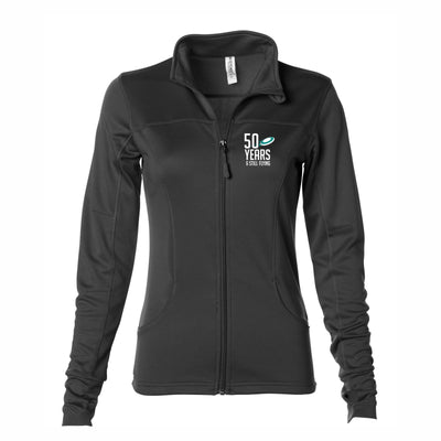 50th Anniversary of Ultimate: '50 Years' Women's Tech Fleece Lightweight Full Zip Jacket - Black - by Independent Trading Co.