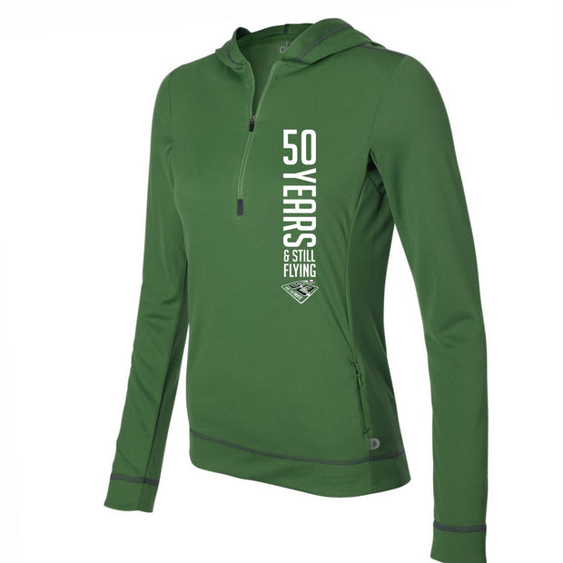50th Anniversary of Ultimate: '50 Years' Women's Left Chest Print Tech 1/2 Zip Hoody- Leaf