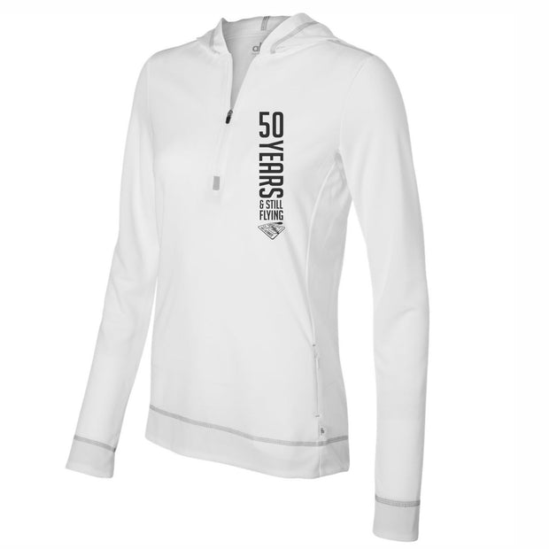 50th Anniversary of Ultimate: '50 Years' Women's Tech Hoody 1/2 Zip - White - by All Sport