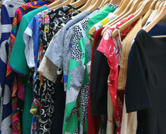 colourful rack of patterned women's clothes