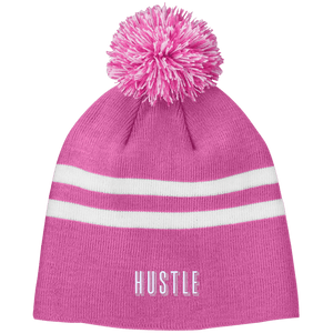 HUSTLE Striped Pom Beanie