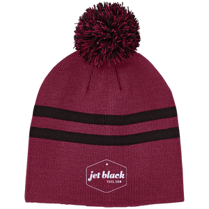 Jet Black Striped Pom Beanie
