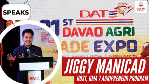Jiggy Manicad of AgriPreneur speaks at the Davao Agri Trade Expo