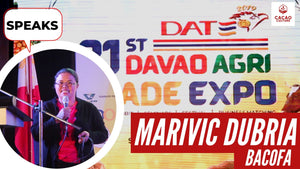 Marivic Dubria of BACOFA speaks at the Davao Agri Trade Expo