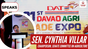 Senator Cynthia Villar speaks at the Davao Agri Trade Expo