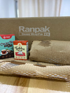 Geami WrapPak Ex Mini Brown Die Cut Kraft Paper, White Interleaf Tissue (Bubble Wrap Alternative)