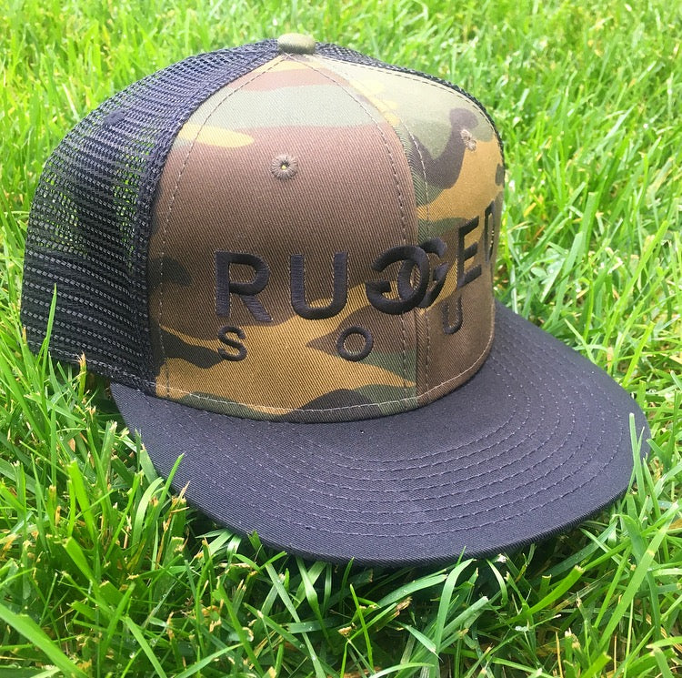 Camo + Black Embroidered Logo Snapback