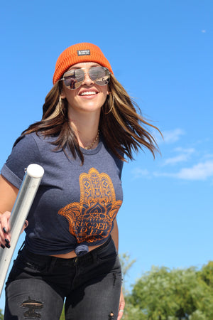 Navy & Orange Hamsa Tee - Unisex