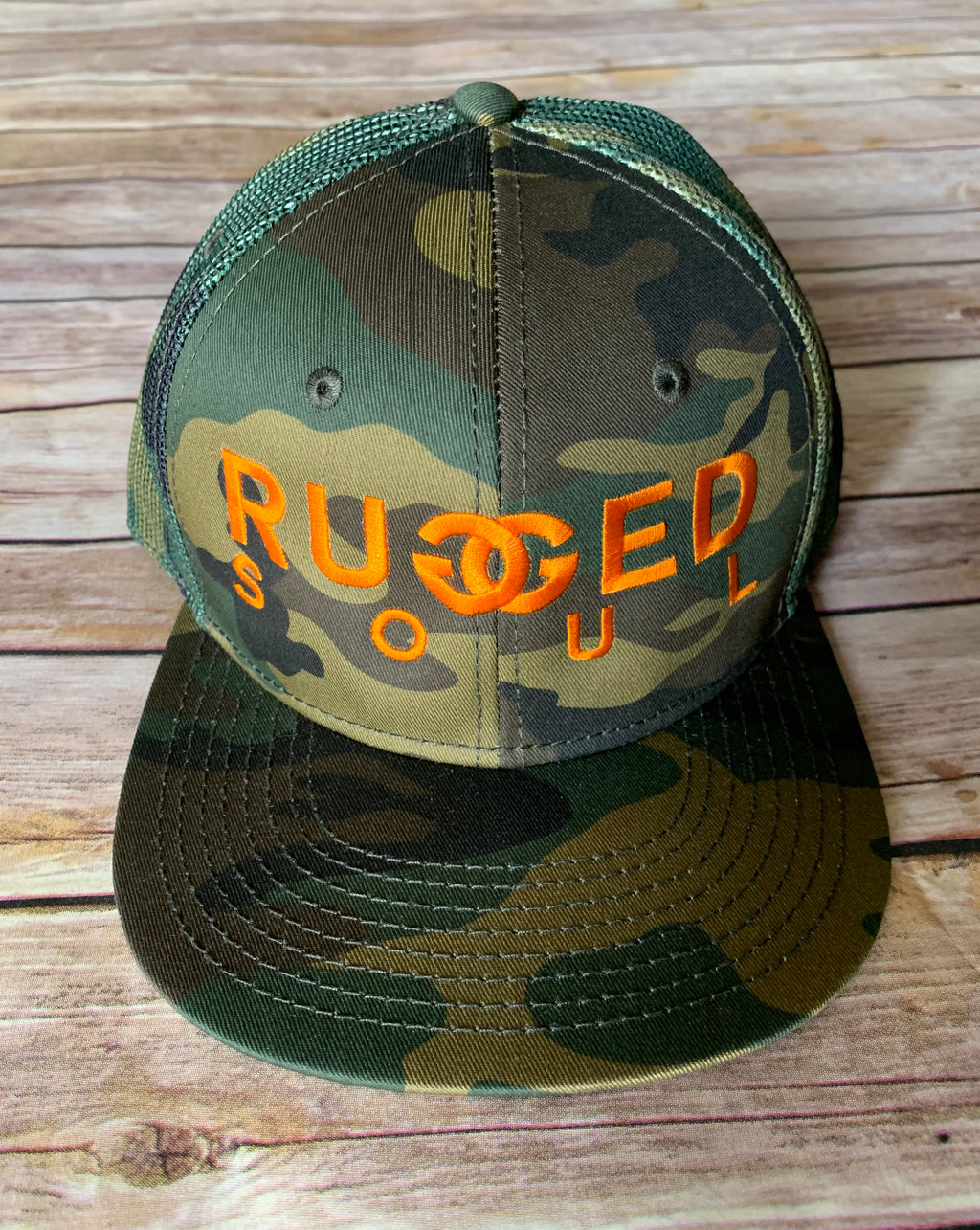 Camo + Orange Embroidered Logo Snapback