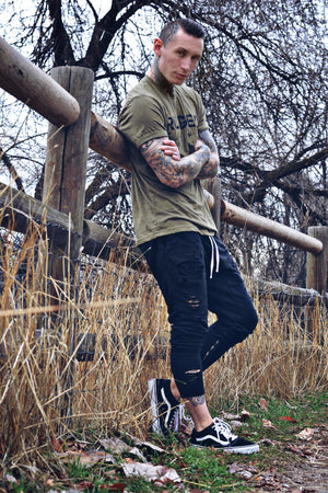 Logo Tee in Army Green - Unisex