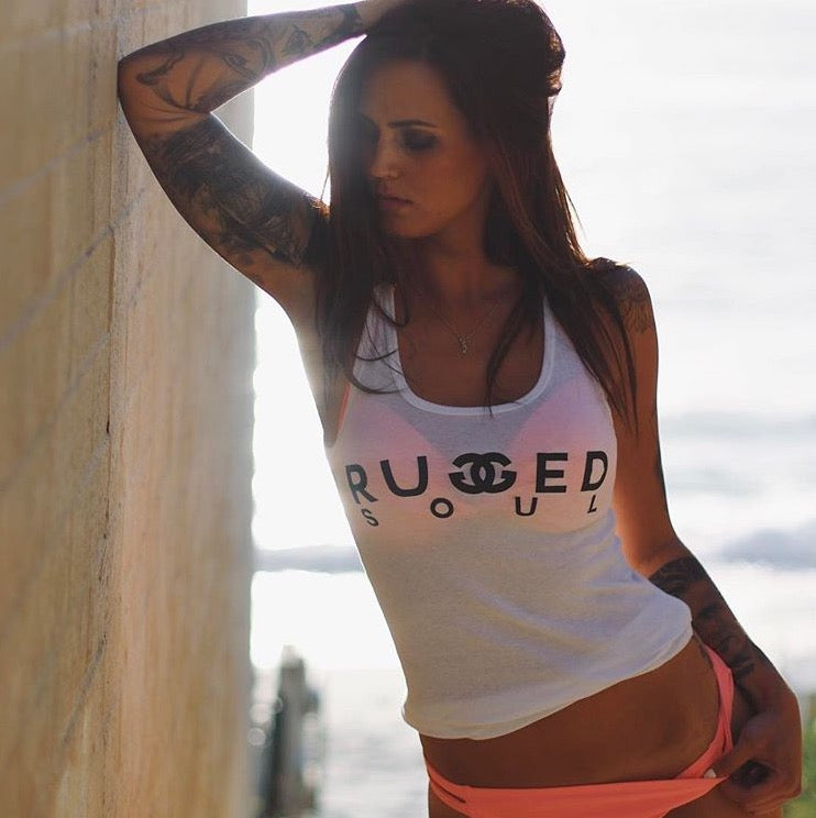 Rugged Soul Double G Logo White Tank