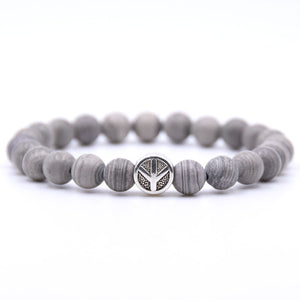 Grey Peace Beaded Bracelet