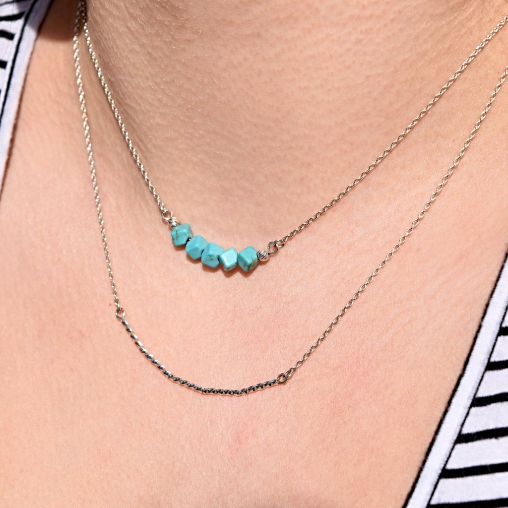 Turquoise and Silver 2-piece Necklace