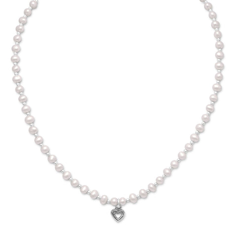 Cultured Freshwater Pearl/Silver Bead Necklace with Oxidized Heart