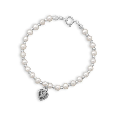 Cultured Freshwater Pearl and Silver Bead Bracelet with Oxidized Heart