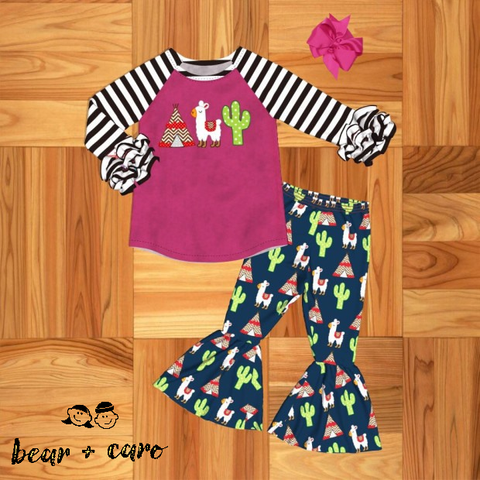 Girls 2-Piece Llama Boutique Ruffle Set