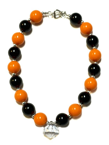 Black and Orange Halloween Bubble Gumball Necklace
