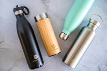 Stainless Steel Water Bottle with Straw Lid - Black