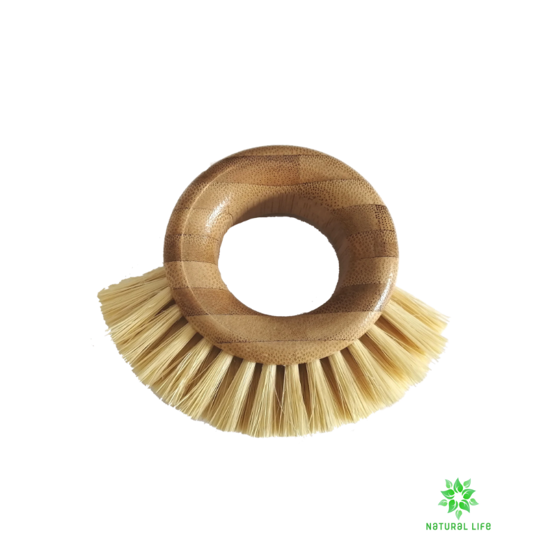 Bamboo Ring Scrubbing Brush with Natural Sisal Bristles natural cleaning brush