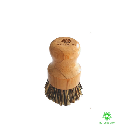 Bamboo Pot Scrubbing Brush with Palm Fibre Bristles natural cleaning brush