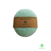 Cucumber and Avocado Wool-wrapped Natural Soap Bar - Aqua