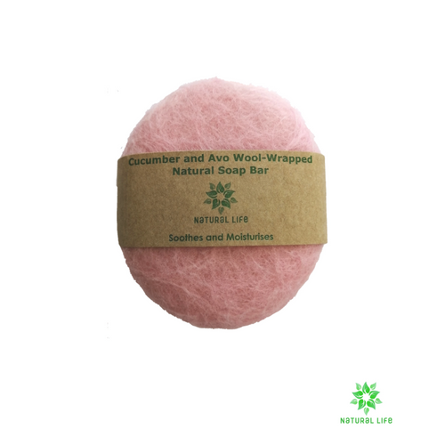 Cucumber and Avocado Wool-wrapped Natural Soap Bar - pink