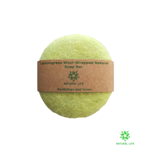 Lemongrass Wool-wrapped Natural Soap Bar - Lime