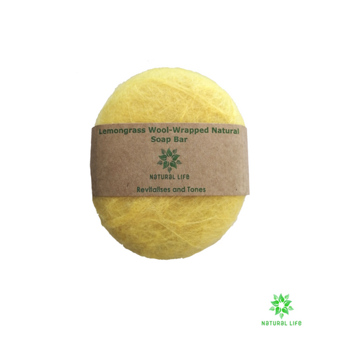 Lemongrass Wool-wrapped Natural Soap Bar - Yellow