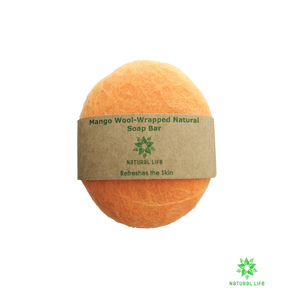 mango Wool-wrapped Natural Soap Bar - orange