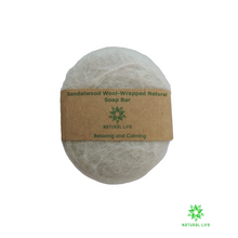 Sandalwood Wool-wrapped Natural Soap Bar - Grey