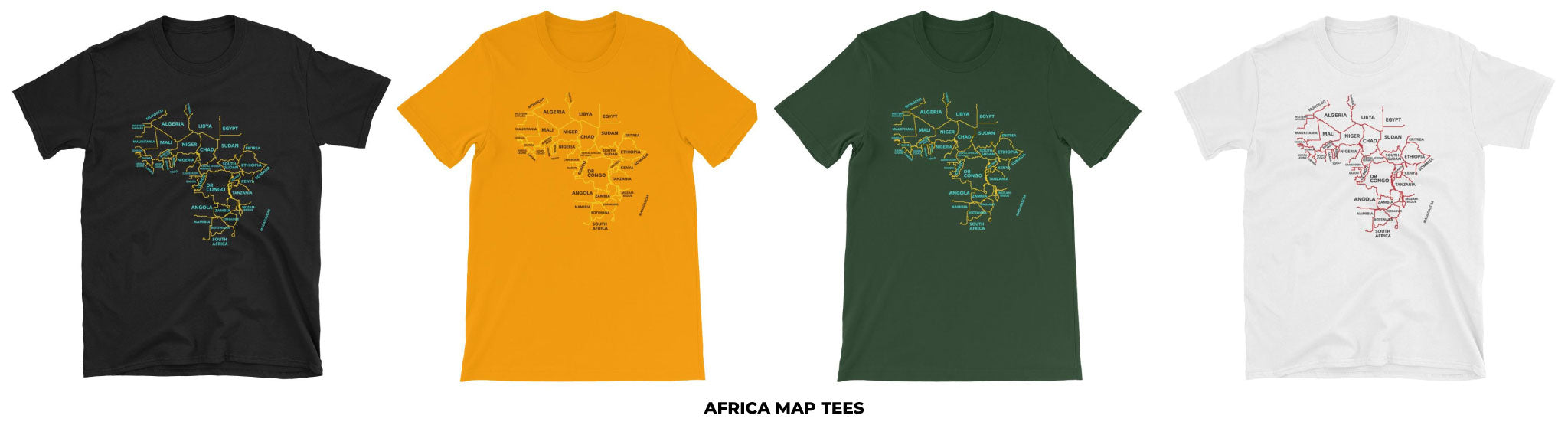 African & Black Pride Shirts, featuring the continent of Africa in a minimalist, line-based design. Represent the motherland in style. Shirts in black, yellow, green, and white.
