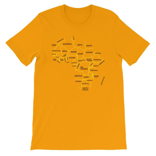 Africa Map Tee Gold