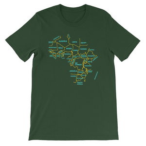 Africa Map Minimalist T-shirt in Green, a shirt featuring Africa and the names of the African countries.