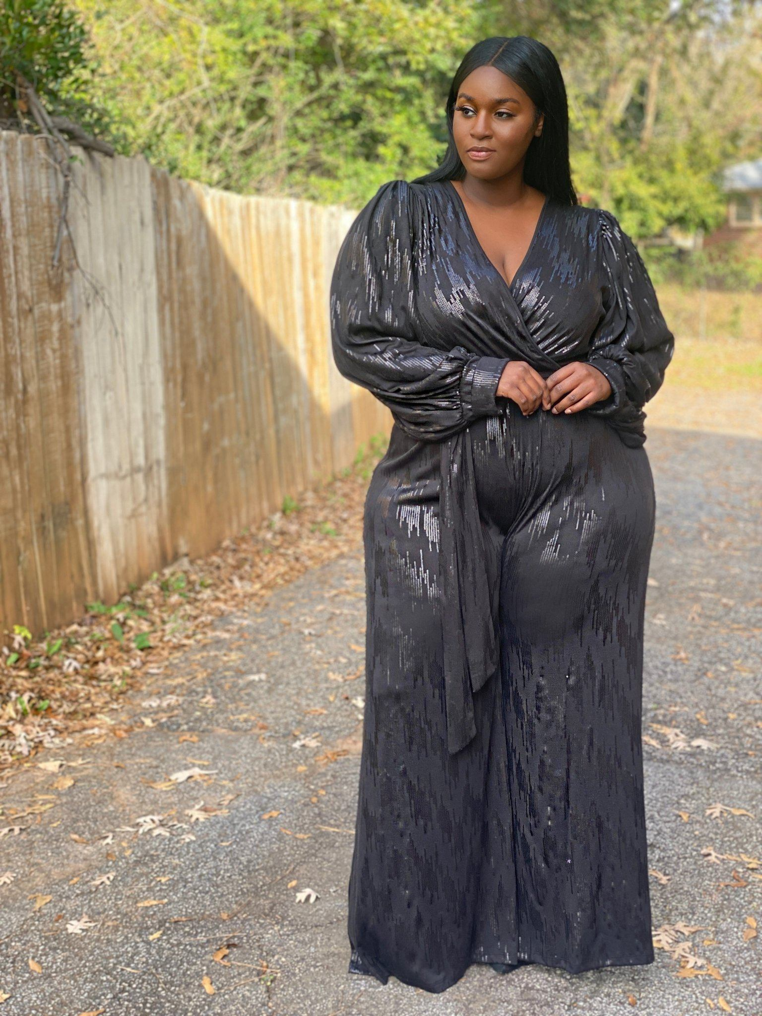 """Ring in the Year"" Black Jumpsuit-jumpsuit-Shun Melson"