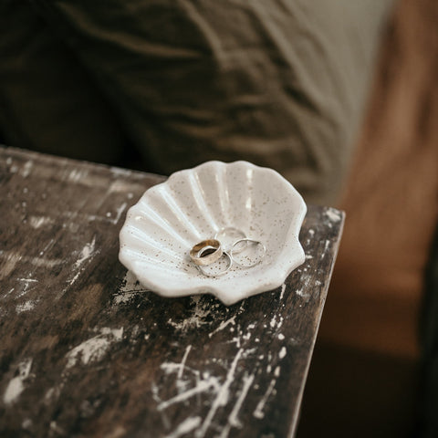 Shell Trinket Dish WHITE SPECKLE