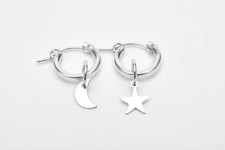 Moon and Star Hoops STERLING SILVER