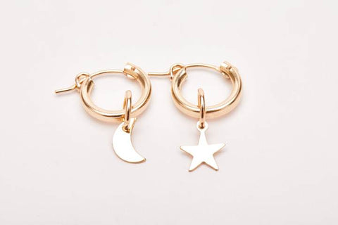 Moon and Star Hoops GOLD FILLED