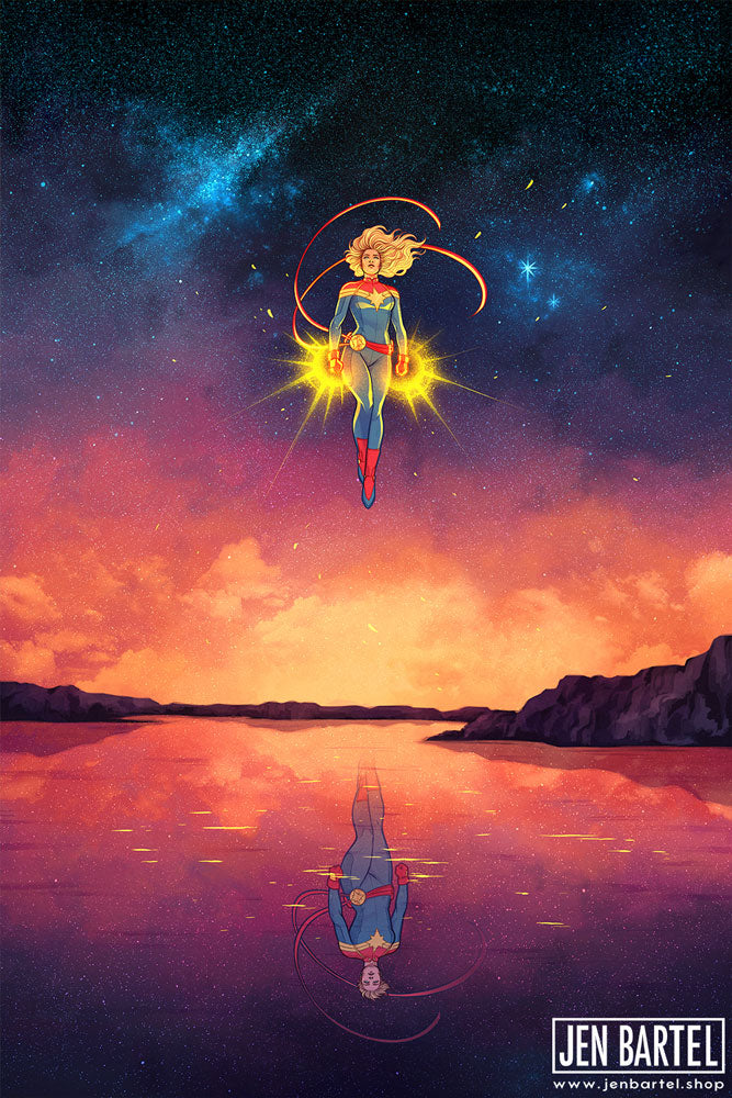 Captain Marvel Reflection Print