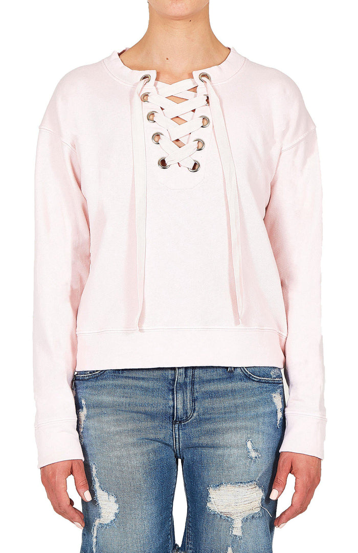 Lace Up Sweatshirt - Pink