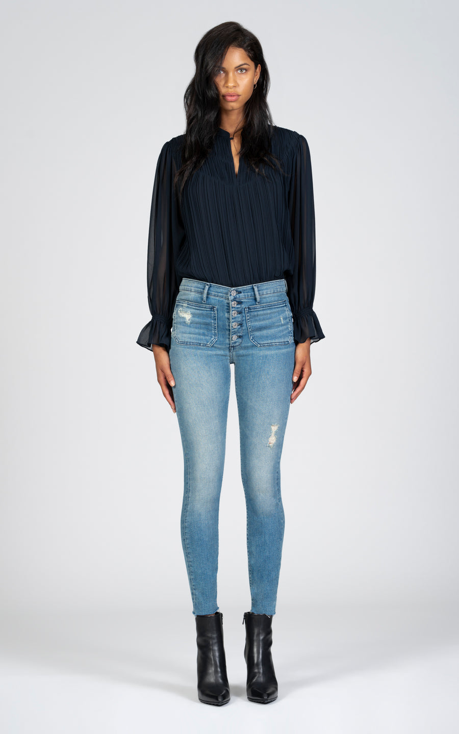 Ava Patch Pocket Skinny - One Last Time-Jean-Black Orchid Denim