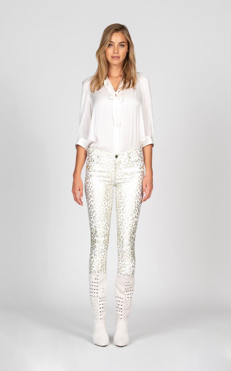Jude Mid Rise Skinny with all over leopard foil - Snow White